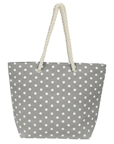 Leisureland Large Rope Handle Water Resistant Canvas Beach Tote Bag (18