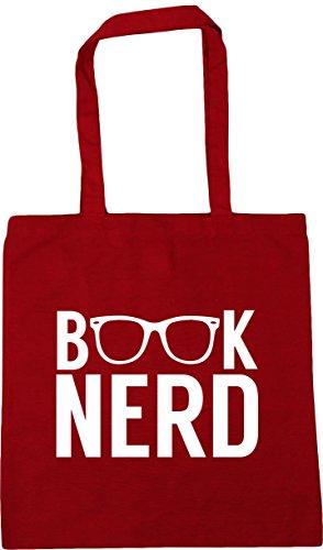 nerd litres 42cm Red 10 Beach Book Bag Shopping Tote Classic x38cm Gym HippoWarehouse vx5qTU0w