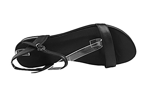 Unie Couleur Bas d'orteil Ouverture Boucle Talon GMBLB014733 à Sandales AgooLar Femme Noir AX6EnRSxW