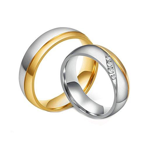 Daesar 6MM Ring Stainless Steel Couple Ring for Women Men (2PCS) & Engraved Ring Women Size 5 & Men Size 12 ()