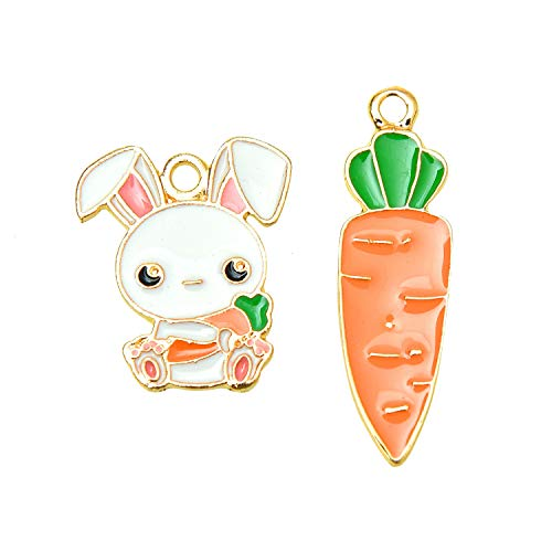 Monrocco Enamel Rabbit Carrot Charms DIY Jewelry Cute Rabbit Carrot Charms Drop Oil Alloy Animal for Jewelry DIY Accessories ()