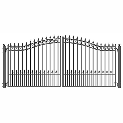 ALEKO Prague Style Iron Wrought Gate 18' Driveway Gates Ornamental Dual Swing Gates 18'