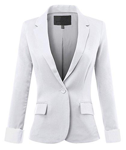URBAN+K+WOMENS+PLUS+Basic+Cuffed+Sleeve+Fitted+Boyfriend+Blazer+%28S-3XL%29