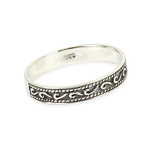 Solid 925 Sterling Silver Celtic Wave Pattern Ring in sizes G-Z (V)
