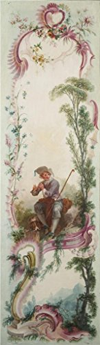 Shepherd Topiary (Oil Painting 'Jacques De LaJoue (attributed To) - Seven Decorative Panels Mounted In A Screen - Shepherd's Song, C. 1730-40' 16 x 55 inch / 41 x 140 cm , on High Definition HD canvas prints, B decor)
