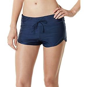 TM-FSB03-NVY_Large Tesla Women's Tankini Shorts Swimsuit Quick Dry Water Beach Board Bottom