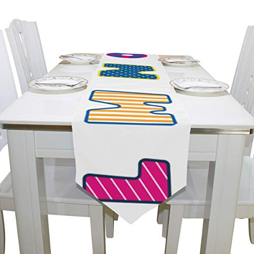 Wuhufy Cartoon Number Funny Dresser Scarf Cloth Cover Table Runner Tablecloth Place Mat Kitchen Dining Living Room Home Wedding Banquet Decor Indoor 13x90 Inch