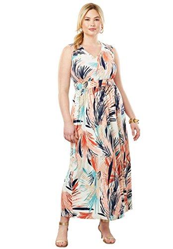 Jessica London Women's Plus Size Travel Knit V-Neck Maxi Dress - Multi Feathery Floral, 20 W -