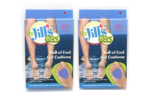 Dr. Jills Gel Ball of Foot Cushions 1/4 Thick (4 Pads Self-sticking and Re-usable)