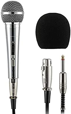 Party Moukey Dynamic Microphone Stage MWm-3 Multipurpose Metal Wired Cardioid Handheld Mic with 16.40 ft XLR Detachable Cable for Singing Vocal Karaoke Machine