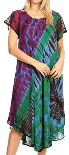 Sakkas 1813900 - Sofi Women's Short Sleeve Embroidered Tie Dye Caftan Tank Dress/Cover Up - Blue - OS