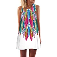 Fvjikne Short Beach Chiffon Dress Women Print Bohomian Dress Sleeveless Round Neck Lavender M