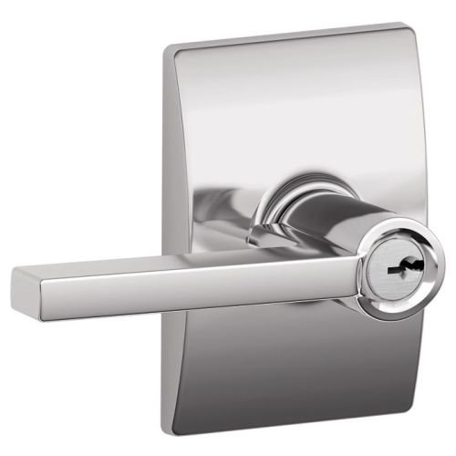 Schlage F51ALAT625CEN Polished Chrome Latitude Keyed Entry F51A Panic Proof Door Lever with Century (Polished Chrome Single Cylinder Entry)