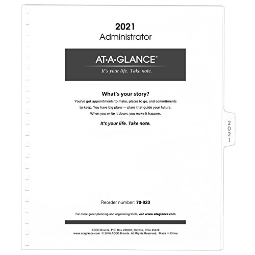 "AT-A-GLANCE Monthly Planner Refill 2021, for 70-236 or 70-296, 9 x 11"", White (70923-71)"