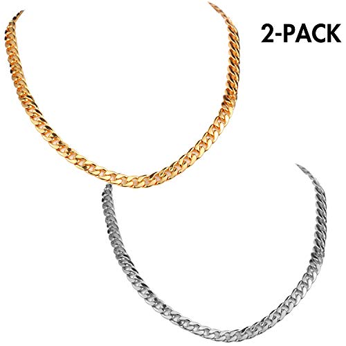 Noorlee Faux Gold & Silver Plated Chain Necklace, 2 Packs Stainless Steel Chains, 90s Punk Style Costume Jewelry, Hip Hop Turnover Chains, Fake Gold & Silver Coating that Never Fades ( 22inches, 10mm)