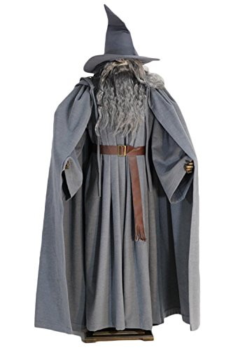 (The Hobbit Cosplay Gandalf Costume Deluxe Cloak Hat Halloween Full Set)