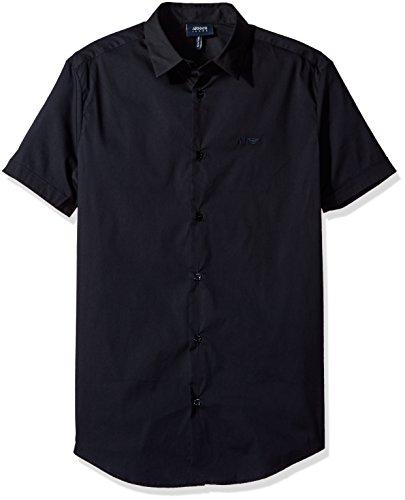 ARMANI JEANS Men's Slim Fit Stretch Poplin Short Sleeve Button Down Shirt, Navy, Large
