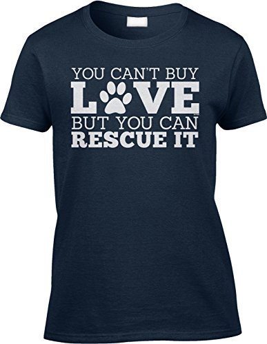 Blittzen Womens Ladies Cant Buy Love But You Can Rescue It  M  Navy Blue