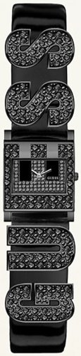 Guess Swarovski G Logo Black Patent Leather Cuff Strap Ladies Watch U15088L1