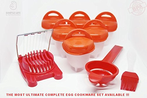 Egglettes, Hard boiled eggs without shell, egg cooker, Silicone egg boil: Simple Life by San Merchandise presents 6 PCS SET + EXTRA!!! 6 cookers + 1 poacher + 1 cutter + 1 paste brush.