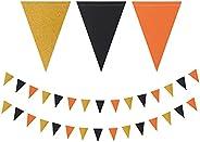 Black Orange Gold Pennant Banner,2 Pack Glitter Sprinkles Paper Triangle Flags, Halloween Birthday Graduation
