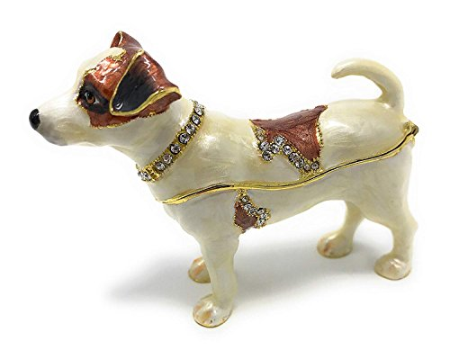 Kubla Crafts Enameled Jack Russell Terrier Dog Trinket Box, Accented with Austrian Crystals ()