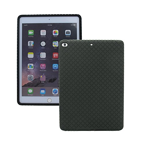 Veamor iPad 9.7 inch 2018/2017 / Air 2 Silicone Back Case Cover, Anti Slip Rubber Protective Skin Soft Bumper Apple iPad 6th/5th/Air 2nd Generation, Kids Friendly/Ultra Slim/Shockproof (Black)