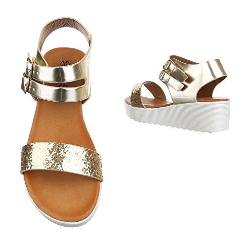 Ital-Design Komfortsandalen Damen Schuhe Römersandalen Keilabsatz/Wedge Keilabsatz Schnalle Sandalen/Sandaletten Gold