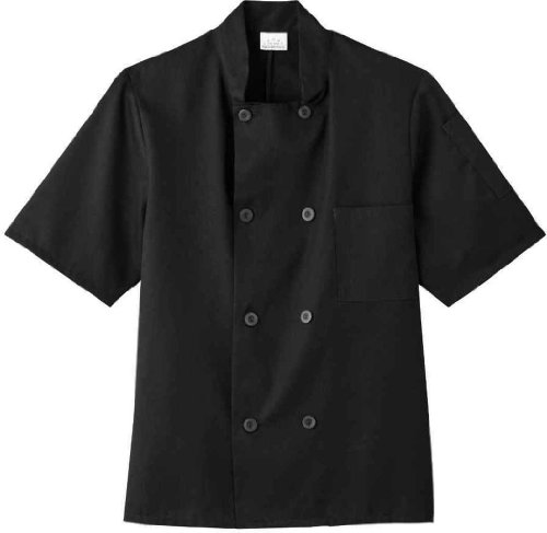 White Swan Unisex Short Sleeve Chef Jacket (Black XL)