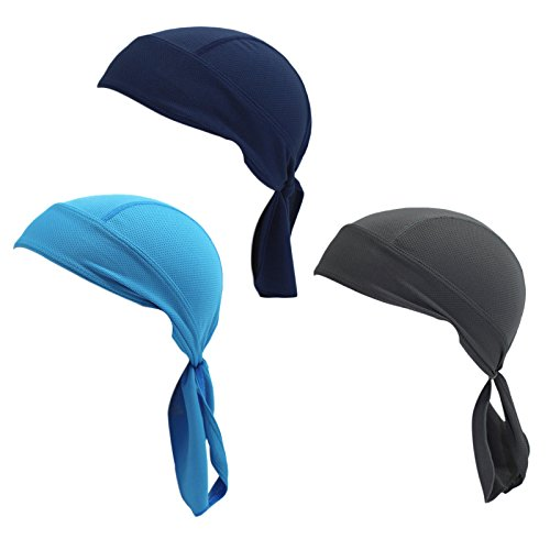 Wicking Skull Cap Beanie Adjustable Bandana Quick-Dry Cycling Head Wrap Doo Rag Unisex Classic Pirate Headscarf Sun UV Protection Headgear Pack of 3 (Grey Navy - Hat Pirate Skull