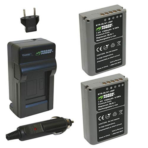 Wasabi Power Battery (2-Pack) و شارژر Olympus BLN-1 ، BCN-1 و Olympus OM-D E-M1 ، OM-D E-M5 ، PEN E-P5