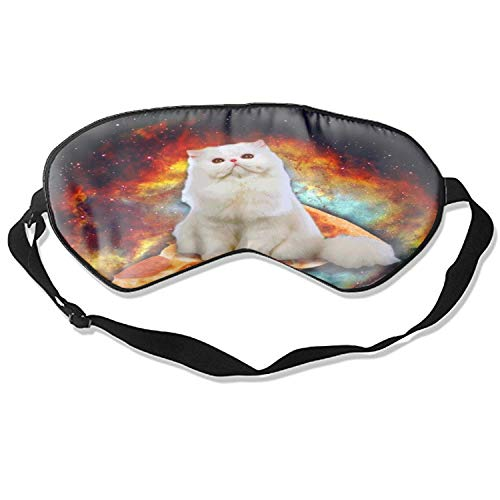Fashion Pizza Space Kitten Print Sleeping Mask Deep Rest Contoured Eye Mask