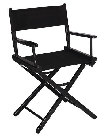 Gold Medal 18'''''''' Table Height Black Frame Directors Chair - Black