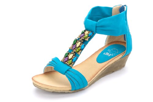 Woman Sandal Blue Color (Alexis Leroy Women Wedge Heel Bright Color Summer Sandal Blue Size 6.5)