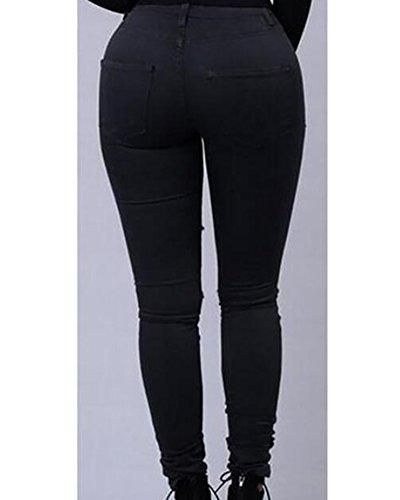 Kasen Noir Pantalons Crayon Denim Jeans Pantalon Femmes Jeans Slim Skinny Stretch Dchirs rqPUrB