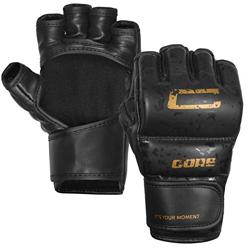 CORE SPORTS MMA Gloves for Men & Women Youth Grappling Kids Martial Arts Sparring Punching Bag Cage Fight Mitts Kickboxing UFC Combat Muay Thai Training Gloves (Black, L)