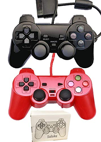 Saloke 2 Packs Wired Gaming Console for Ps2 Double Shock (Black and Red)