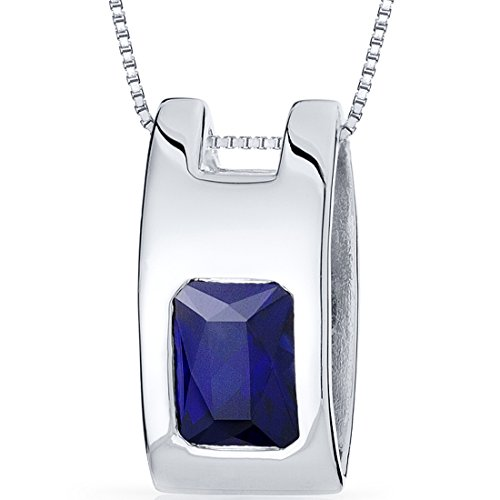 Created Sapphire Flush Pendant Necklace Sterling Silver Rhodium Nickel Finish 2.00 Carats by Peora