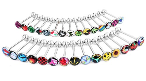 "Coolrunner Lot Surgical Steel Metal Tongue Rings Barbells Funny Nasty Wordings Picture Logo Signs 14g - Length 5/8"" or 16mm (20)"