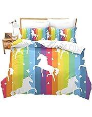 Feelyou Girly Bedding Set Cute Unicorn Comforter Cover for Kids Girls Teen Child, Rainbow Cartoon Animal Unicorn Decor Duvet Cover Twin Size, Stripes Pattern Stars Print Quilt Cover Microfiber