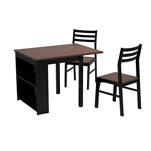 Coaster home furnishings 130015 casual dining room 3 piece set walnut and black buy online in Home furniture online uae