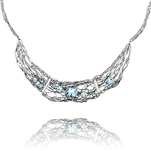 Artisan Crafted Sterling Filigree - Paz Creations ♥925 Sterling Silver Blue Topaz Statement Necklace