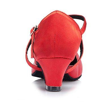 XIAMUO Anpassbare Frauen Modern Dance Schuhe Latin/Jazz/Swing Schuhe/Salsa/Satin Sandalen angepasste Ferse Schwarz/Rot, Rot, US 9.5-10/EU 41/ UK 7,5-8/CN 42