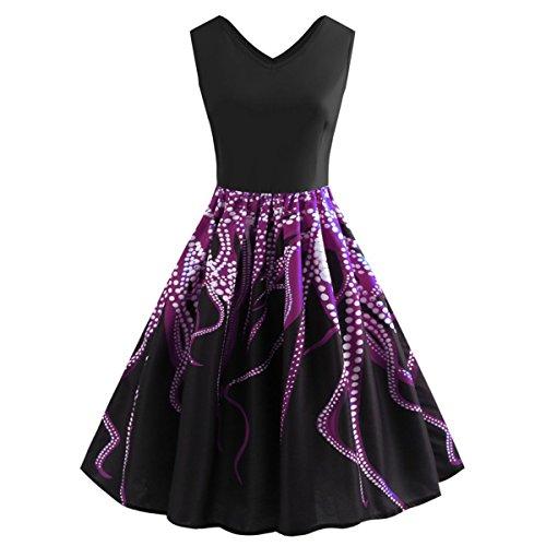 da lunghe '50 modello anni Purple da Abito maniche donna Ilangareee Hepburn con tè wxRFHqFB