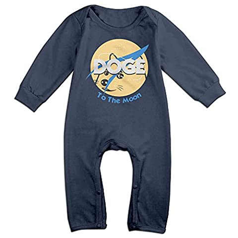 ElishaJ Doge To The Moon Babys Long Sleeve Bodysuit Outfits Navy Size 12 Months (V3 Watch Phone)