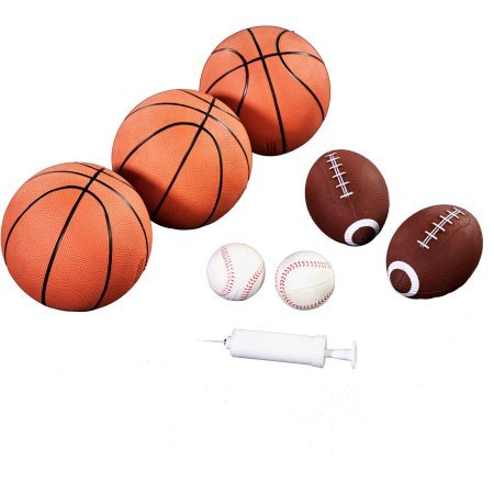 Foldable and Lightweight MD 3-In-1Sports,Basketball,Baseball & Football Games,Includes: 3 Basketballs, 2 Footballs, 2 Baseballs, 1 air Pump,Makes an Action Packed Gift for Kids by Generic