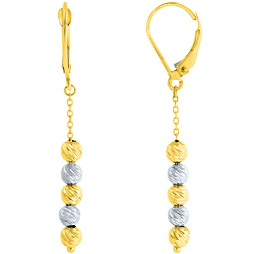 14K Two Tone Gold Textured Layered Ball Dangling Drop Threader Earrings, 4mm by Jewelry America