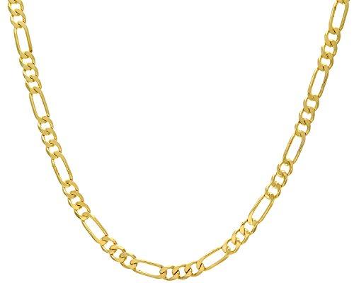 Revoni Bague en or jaune 9carats-36G-Collier Femme-Maille Figaro, 61cm/61cm Longueur, Largeur: 7mm