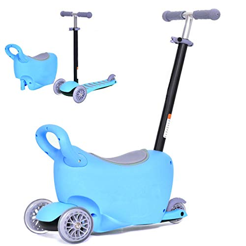 Costzon 3-in-1 Kick Scooter with Removable Seat/Handle, Ride On Tricycle, Parental Push Tricycle, Great for Kids & Toddlers Girls or Boys - Adjustable Height w/Large Storage Space (Blue)