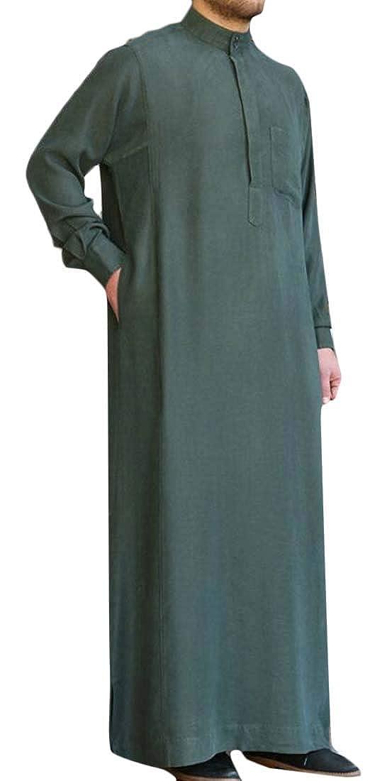MOUTEN Men Long Sleeve Loose Fit Stand Collar Pure Color Saudi Arab Thobe Islamic Muslim Dubai Robe